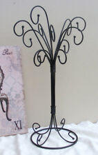 Iron Jewelry Stand Curly Necklace Tree Stand Ornament w/12 Hooks Display Black