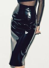 Designer Ladies Black PVC Pencil Skirt - Sizes 8-16 - William Wilde