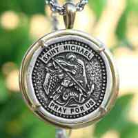 Catholic Saint Michael Necklace Retro Medal Archangel Patron Saint Pendant