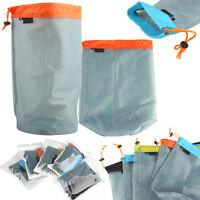 Ultralight Mesh Stuff Sack Drawstring Storage Bag Travel Camping Outdoor Sports