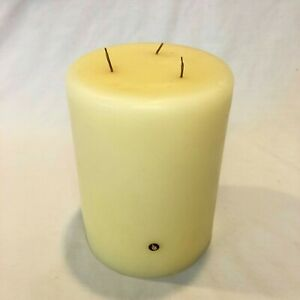 """Partylite 3 Wick Candle ~ 6"""" x 8"""" Candle Extra Large Cream Yellow Color # 1691"""