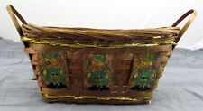 "Decorative Christmas Santa Claus Woven Rattan Wicker Basket - 4.25"" by 7"" by 9"""