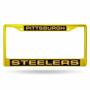 Pittsburgh Steelers Yellow Painted Metal Laser Cut License Plate Frame