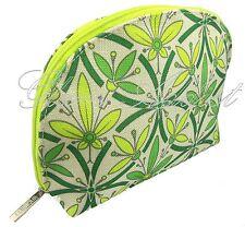 CLINIQUE Vibrant Floral Detail Green Coloured Makeup Cosmetic Bag