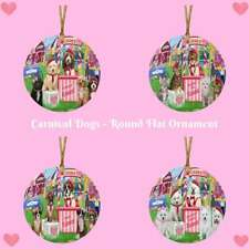 Carnival Kissing Booth Dog Cat Round Flat Ornament, Pet Photo Lovers Gift
