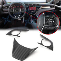 Carbon Fiber Interior Steering Wheel Button Frame Cover For Toyota Camry 2018-20