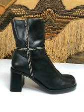 Amanda Smith Womens Black Leather Heel Side Zip Up Boots  Size 6.5 M