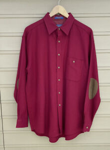 Pendleton Red 100% Virgin Wool Reg Button Up Shirt L Red Leather Elbow
