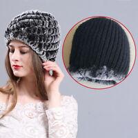 Real Rex Rabbit Fur Knitted Women's Hat Cap Girl's Beanie Winter Fur Warm