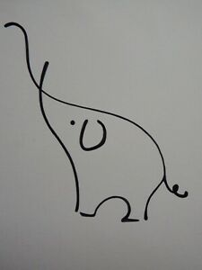 Original minimalist single line pen & ink drawing of an elephant after Picasso