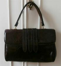 Vintage Late 1960's Dark Brown Distressed Patent Vinyl Go-Go Hand Bag