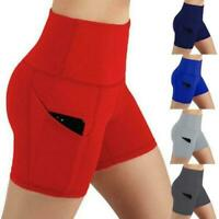 Women's High Waist Yoga Shorts Pocket Gym Cycling Biker Hot Pants Sports Legging