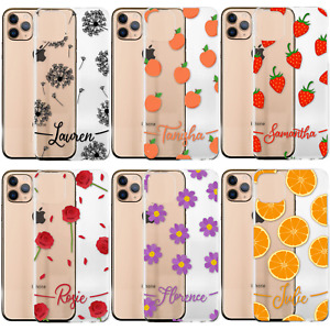 Personalised Phone Case For iPhone 13/12/11/XR, Initial Flowers Clear Hard Cover