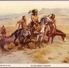 """C. RUSSELL...INDIANS SCOUTING """"IN THE ENEMY COUNTRY"""" AMERICAN WEST,1952 POSTCARD"""