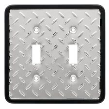 Brainerd (135861) Diamond Plate Polished Chrome/Black Double Light Switch Cover