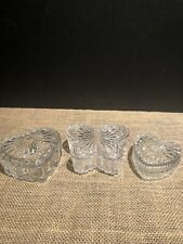 Three Clear Glass Trinket Boxes