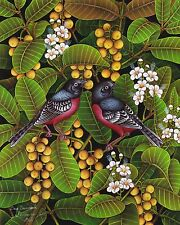 Hand painting Balinese Sparrow Birds 318