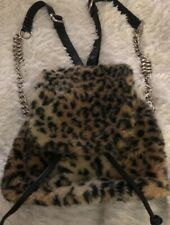 CURRENT MOOD BACKPACK Animal Faux Fur-Silver Chain Link Detach Straps-Drawstring