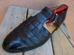 MEZLAN Mens Dress Shoe Black Woven Leather Casual Covered Toe Sandals Size 10.5M