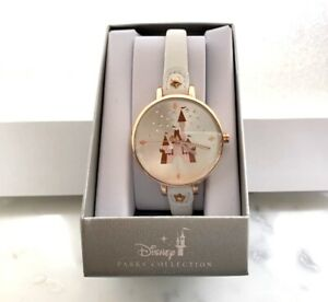 NEW DISNEY PARKS COLLECTION ROSE GOLD TONE WHITE BAND WATCH