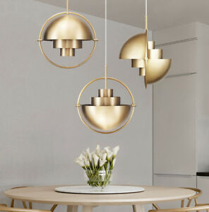 Nordic Luxury Round Metal Pendant Light Shape Changing Chandelier Golden Color
