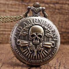 Necklace Men Women Pocket Watch Gifts 2nd Amendment Military Gun Skull Quartz