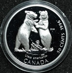 Bear Cubs - 1996 Canada 50 cent Proof Silver Coin