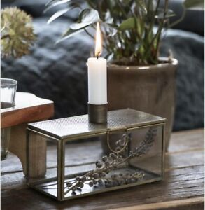 Decorative Antique Gold Glass Display Box With Candle Holder by Ib Laursen
