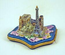 French Limoges Trinket Box Paris Landmark w Eiffel Tower & other Paris Monuments