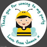 Personalised Round Bumble Bee Stickers Birthday Party round labels sheet