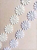 Daisy Lace Flower Guipure White or Cream Sew on Motif Appliques 25mm 1""