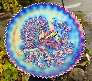 """Rare antique NORTHWOOD Electric Blue Peacocks on the Fence 9"""" Plate Excellent"""