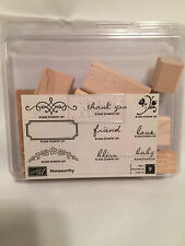 Stampin' Up 2006 Noteworthy Wooden Rubber Stamps Set 9 Cardmaking Retired NEW