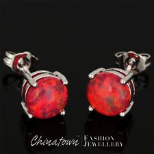 8mm Round Ruby Red Fire Opal Cabochon Silver Jewelry Simple Stud Earrings