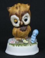"Napco Dozy Eyed Owl with Blue Bird Figurine * 3"" tall * Ceramic * Excellent!"