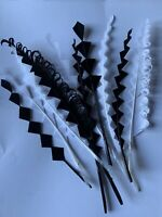 """10 Black/white Zig Zag Goose Feathers 6-8"""" 15-20cm  Millinery Hat Making Crafts"""