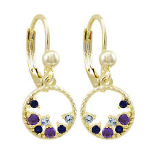 Gold Finish Lab-created Spinel Blue with Purple CZ's Open Circle Teen's Earrings