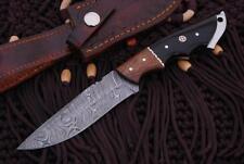 "Handmade Damascus Steel Bone Handle Fixed Blade Hunting Knife W/Case/9"""