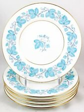 9ceb24fc7be3a SET 7 DINNER PLATES VINTAGE MINTON BONE CHINA TURQUOISE BLUE S366 ENAMEL  GOLD