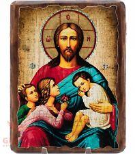 "Wooden Icon Jesus Christ Blessing of children Икона Благословение детей 5""x6.5"""