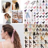 Elegant Bow Floral Hair Band Ties Rope Elastic Scrunchie Women Girls Accessories