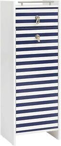 Highboard Schrank weiß Glanz/ blau Breite: 40 cm Hoch 114 cm Tiefe 33 cm