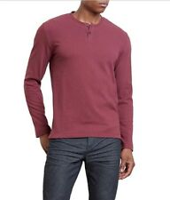 Kenneth Cole Reaction NEW Port Red Mens Large L Textured Henley Shirt $45 #066