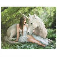 UNICORN CANVAS PLAQUE 'PURE HEART' BY ANNE STOKES MYTHICAL MAGICAL WALL ART
