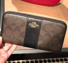 Coach F54630 Signature Accordion Zip Around Wallet Brown & Black $250 Phone case