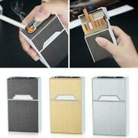 BIN 20 sticks Automatic Cigarette Case With Inbuilt Windproof Box Lighter U3F3