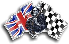 Death The GRIM REAPER & Union Jack British Racing Flag vinyl car helmet sticker