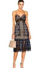 Self portrait strappy maxi dress navy ,black /nude size 0 retail $510.00