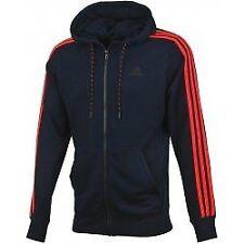 Adidas Mens Essentials Mens Full Zip Sports Jacket Red Hoodie Navy (S17872)