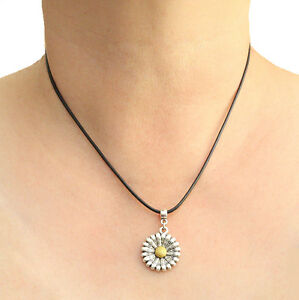 Daisy Sunflower Charm Pendant Necklace with Black Cord